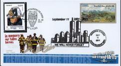 """WT11-2 : 2011 - FDC USA-FRANCE """"10 ans Attentats 11 Septembre / 1er Jour Pompiers"""""""