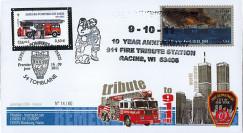 """WT11-7 : 2011 - FDC USA-FRANCE """"10 ans Attentats 11 Septembre / 1er Jour Pompiers"""""""