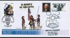 """WT11-9 : 2011 - FDC USA-FRANCE """"10 ans Attentats 11 Septembre / 1er Jour Pompiers"""""""