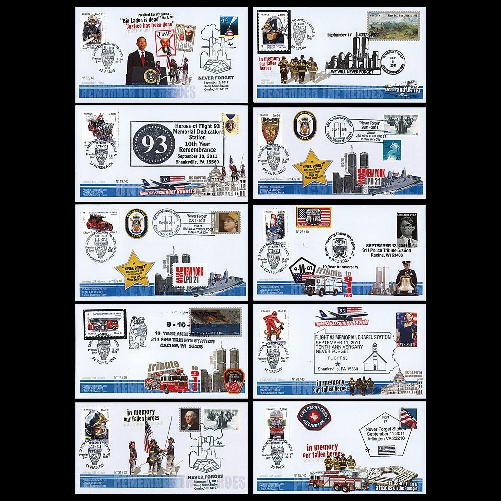 """WT11-1/10 : 2011 - Série 10 FDC USA-FRANCE """"10 ans Attentats 11 Septembre - Pompiers"""""""