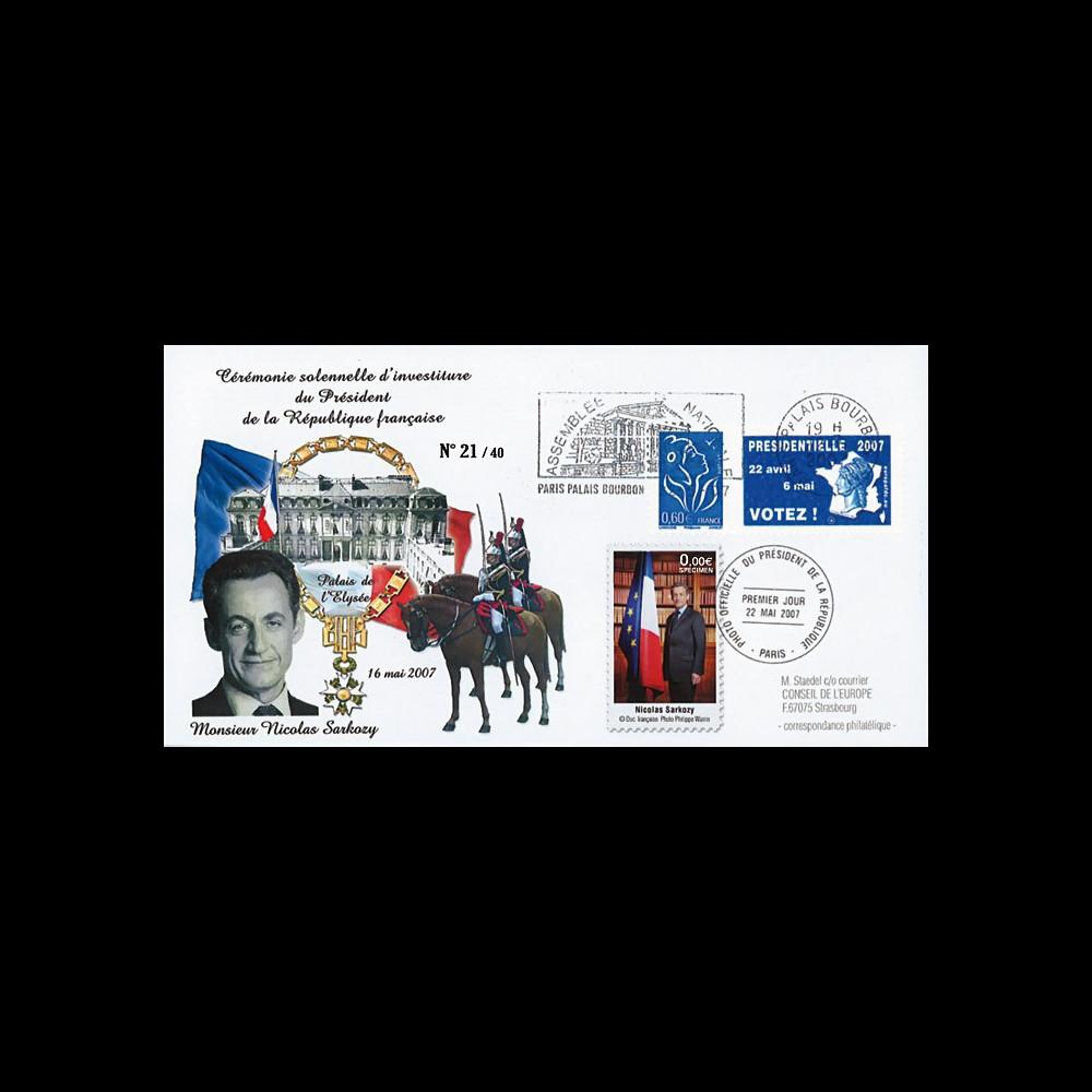 """EP07-5 : 2007 - FDC """"Investiture du Président SARKOZY - 1er jour du portrait officiel"""""""