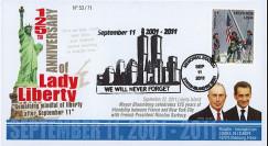 """WT11-11T2 : 2011 - FDC USA """"125 ans Statue de la Liberté / BLOOMBERG - SARKOZY"""""""