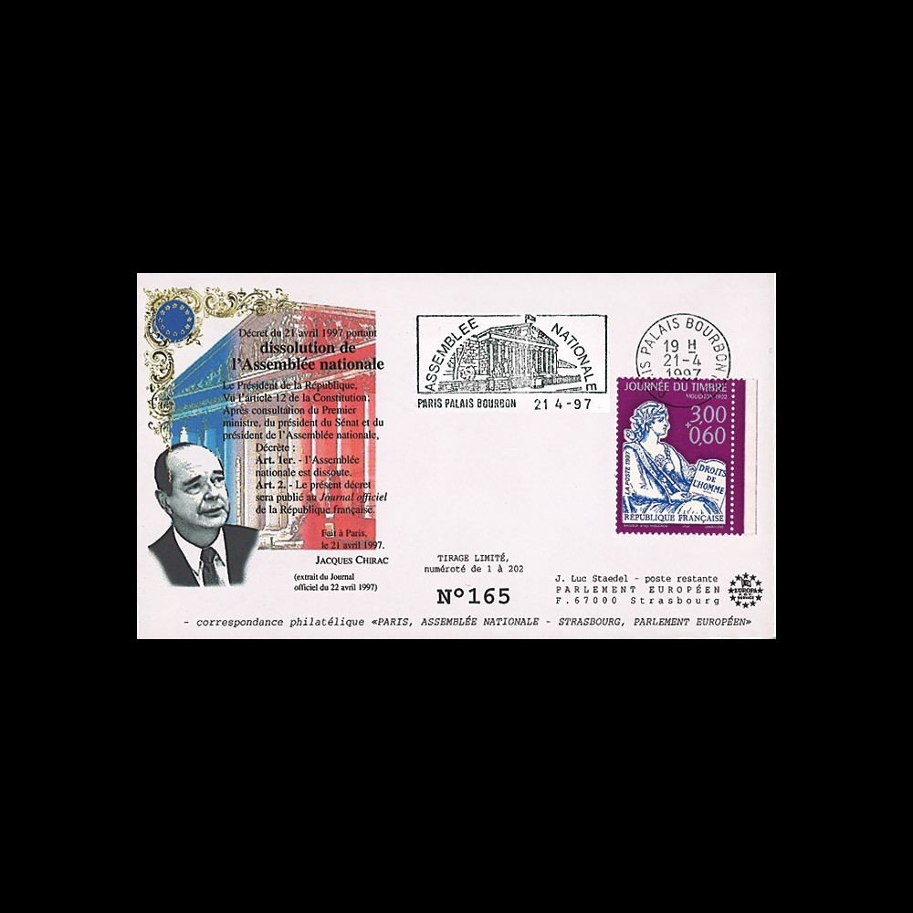"AN97-1 : 1997 - FDC ""Jacques Chirac - dissolution de l'Assemblée Nationale"""