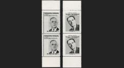 """PRES65-1V : 1965 - 2 paires de vignettes """"Candidat de Gaulle"""" et """"Candidat Mitterrand"""""""""""