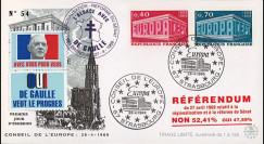 """EU56-DG : 1969 - FDC """"de Gaulle - Référendum du 27 avril"""" - Europa 69 / cachet main"""