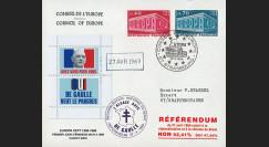"""EU56EO-DG1 : 1969 - Env. à entête CE """"de Gaulle - Référendum du 27 avril"""" - cachet main"""