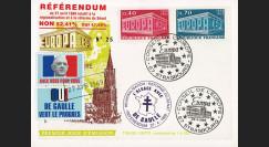"""EU56A-DG : 1969 - Carte """"de Gaulle - Référendum du 27 avril"""" - Europa 69 / cachet main"""