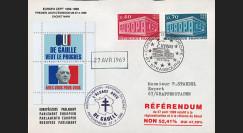 """EU56EO-DG2 : 1969 - Env. à entête PE """"de Gaulle - Référendum du 27 avril"""" - cachet main"""