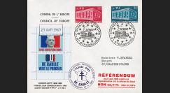 """EU56BEO-DG1 : 1969 - Env. à entête CE """"de Gaulle - Référendum 27 avril"""" cach. machine 1"""