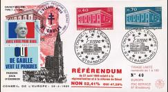 """EU56B-DG : 1969 - FDC """"de Gaulle - Référendum du 27 avril"""" - cachet machine 1"""