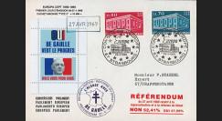 """EU56CEO-DG2 : 1969 - Env. à entête PE """"de Gaulle - Référendum 27 avril"""" cach. machine 2"""