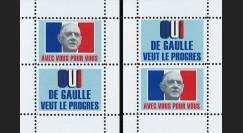 """DG69-B1/2 : 1969 - 2 blocs de vign. """"OUI de Gaulle veut le progrès"""" - """"Avec vous pour vous"""""""