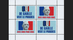 """DG69-B3 : 1969 - Bloc 4 vignettes """"OUI de Gaulle veut le progrès"""" - """"Avec vous pour vous"""""""