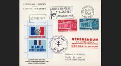 """EU58EO-DG1 : 1969 - Env. CE """"de Gaulle - Référendum 27 avril"""" flamme """"Foire européenne"""""""