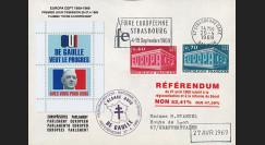 """EU58EO-DG2 : 1969 - Env. PE """"de Gaulle - Référendum 27 avril"""" flamme """"Foire européenne"""""""