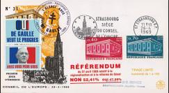 """EU58-DG : 1969 - FDC """"de Gaulle - Référendum du 27 avril"""" - flamme """"Foire européenne"""""""