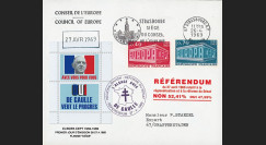 """EU57EO-DG1 : 1969 - Env. CE """"de Gaulle - Référendum 27 avril"""" flamme """"Strasbg"""