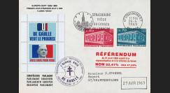 """EU57EO-DG2 : 1969 - Env. PE """"de Gaulle - Référendum du 27 avril"""" flamme """"Siège du CE"""""""