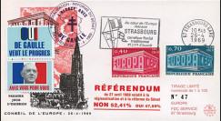 """EU59-DG : 1969 - FDC """"de Gaulle - Référendum du 27 avril"""" - flamme """"Europe Rhénane"""""""