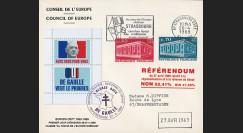 """EU59EO-DG1 : 1969 - Env. CE """"de Gaulle - Référendum 27 avril"""" flamme """"Europe Rhénane"""""""
