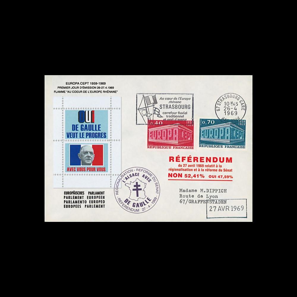 """EU59EO-DG2 : 1969 - Env. PE """"de Gaulle - Référendum 27 avril"""" flamme """"Europe Rhénane"""""""