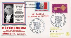 """EU61-DG1 : 1969 - FDC """"Référendum - de Gaulle se retire du pouvoir"""" - Europa 1968"""