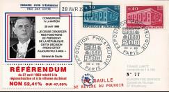 """EU61-DG2 : 1969 - FDC """"Référendum - de Gaulle se retire du pouvoir"""" - Europa 1969"""