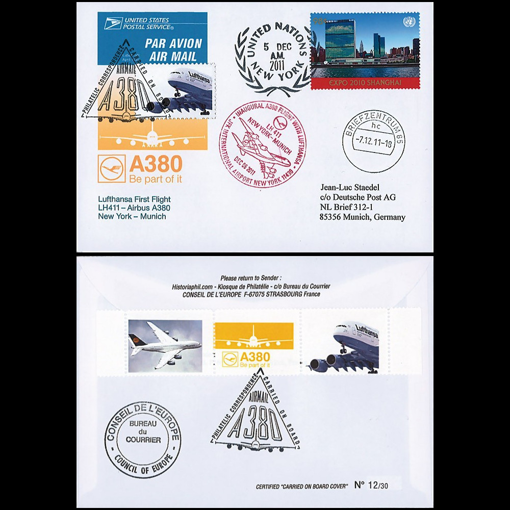 "A380-167 : 2011 - FFC (Pli) ""1er vol New York - Munich LH411 de l'A380 Lufthansa"" - ONU"