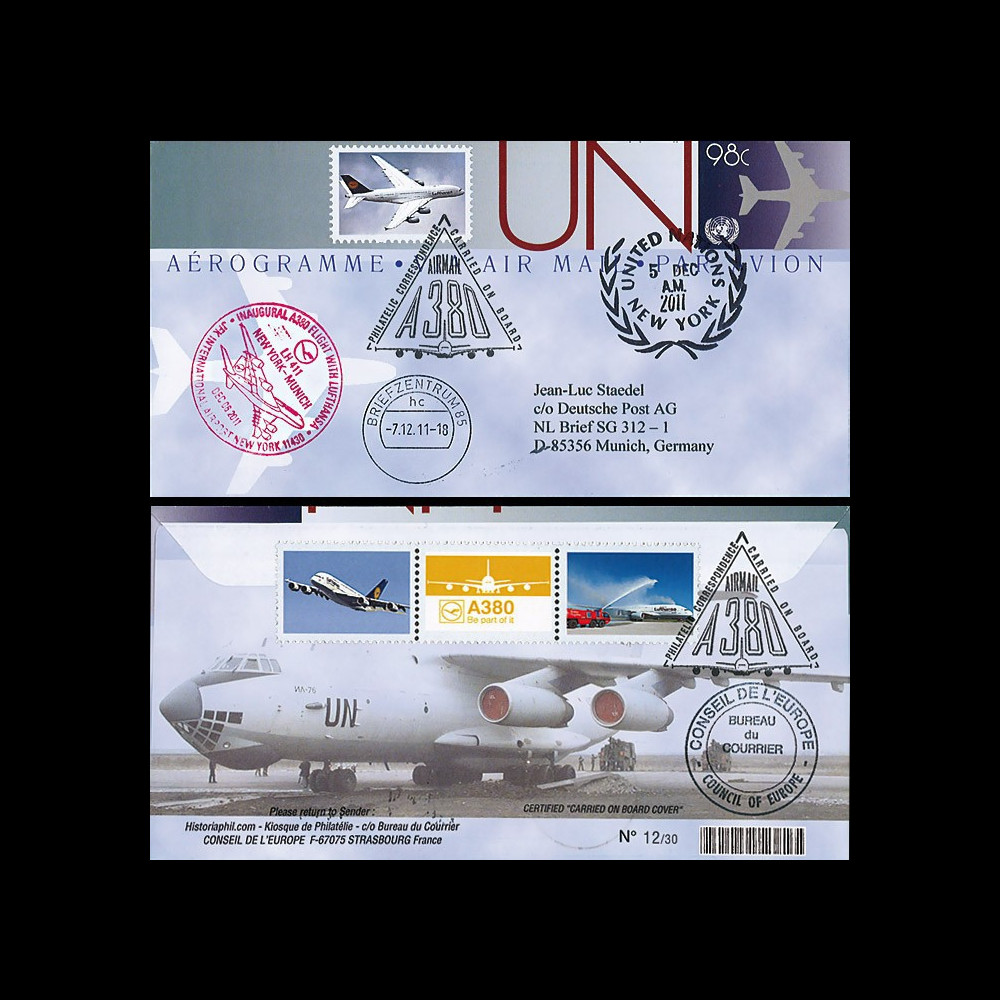 """A380-168 : 2011 - FFC Aérogramme """"1er vol NY - Munich LH411 de l'A380 Lufthansa"""" - ONU"""