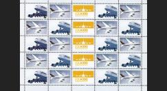 """A380-169F : 2011 - Feuillet de 25 vignettes """"Airbus A380 Lufthansa au décollage et en vol"""""""
