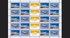 """A380-170F : 2011 - Feuillet de vignettes """"A380 Lufthansa en vol et baptisé par les pompiers"""""""