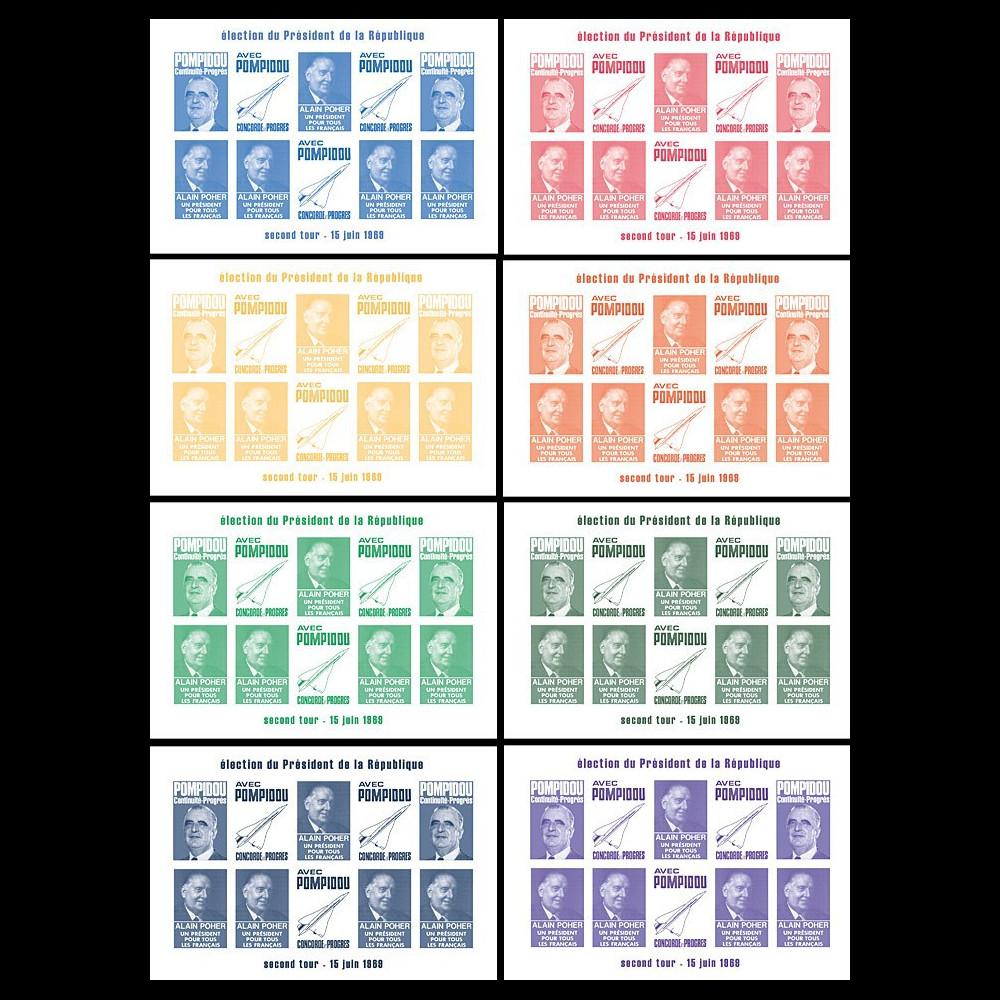 """PRES69-B-COL2 : 1969 - 8 blocs de vign. non-dent. """"Présidentielle 1969 / Poher-Pompidou"""""""