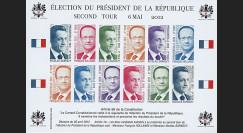"""PRES12-10FND : Feuillet 12 vignettes non-dentelées """"Présidentielle 2012 - 2e tour"""""""
