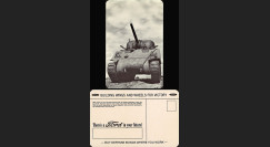 "W2-USWB01 : CP Patriotique USA ""Char M-4 Sherman - BONS D'ARMEMENT FORD 1942/45"""
