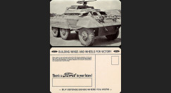 "W2-USWB03 : CP Patriotique USA ""Auto-mitrailleuse M20 - BONS D'ARMEMENT FORD 1942/45"""