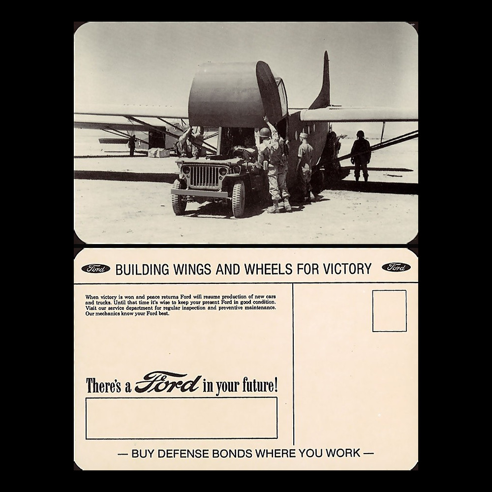 "W2-USWB06 : CP Patriotique USA ""JEEP Willys dans planeur Waco - BONS D'ARMEMENT FORD 1942"""