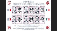 """PRES12-17FND : Feuillet 12 vignettes """"Présidentielle 2012 - Investiture Président HOLLANDE"""""""