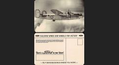 "W2-USWB12 : CP Patriotique US ""Bombardier B24 Liberator - BONS D'ARMEMENT FORD 1942"""