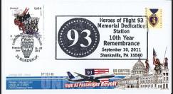 """WT11-3 : 2011 - FDC USA-FRANCE """"10 ans 11 Septembre - Shankville / 1er Jour Pompiers"""""""