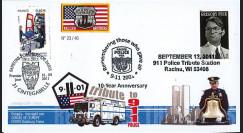 """WT11-6 : 2011 - FDC USA-FRANCE """"10 ans 11 Septembre - Racine / 1er Jour Pompiers"""""""