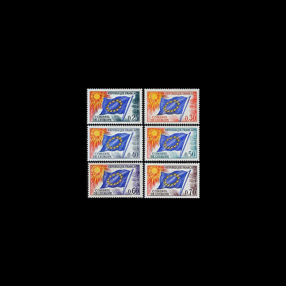 CE15/22-NF (Y&T 30/35) : 1964-71 TP de service du Conseil de l'Europe