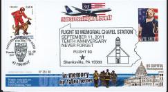 """WT11-8 : 2011 - FDC USA-FRANCE """"10 ans 11 Septembre - Shankville / 1er Jour Pompiers"""""""
