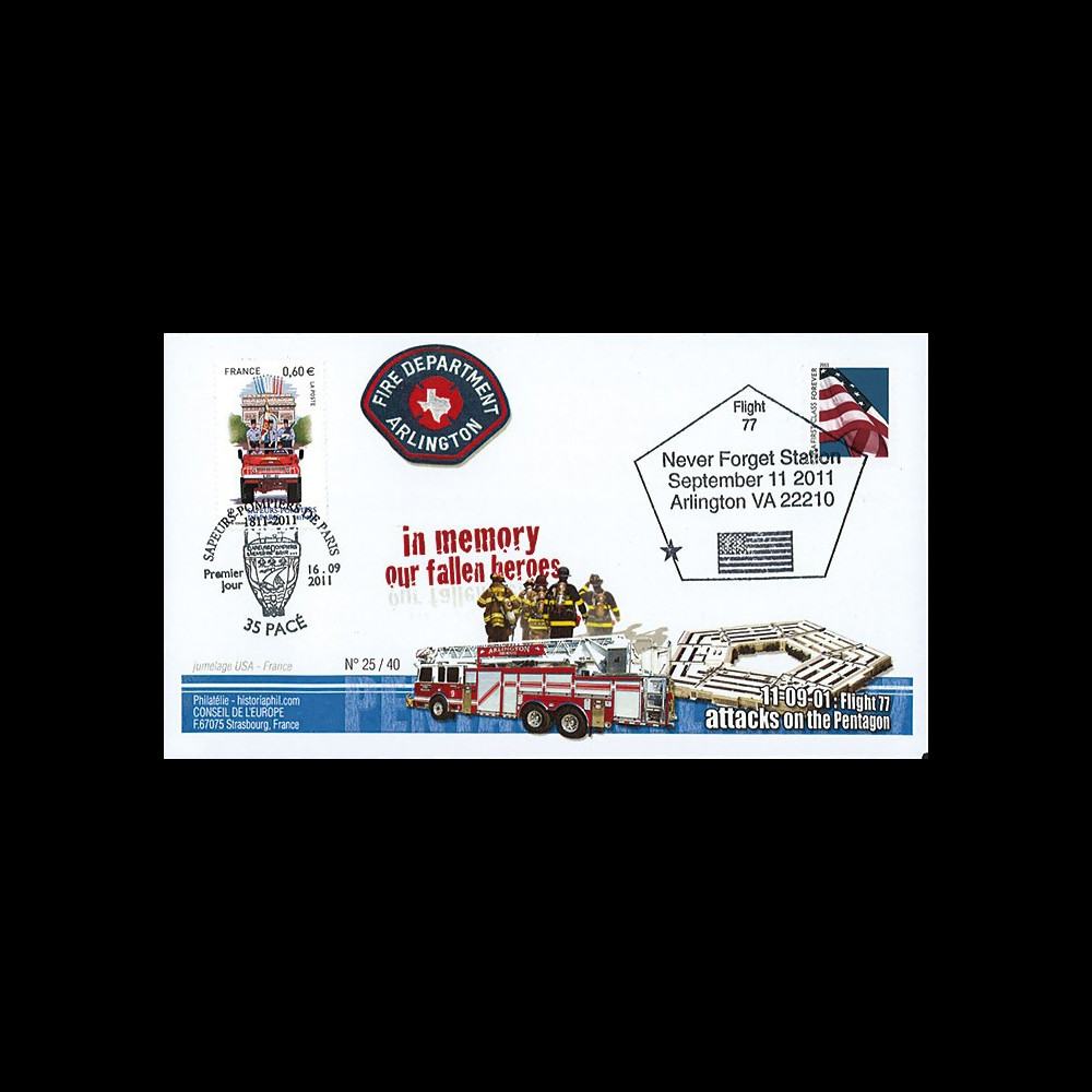 """WT11-10 : 2011 - FDC USA-FRANCE """"10 ans 11 Septembre - Arlington / 1er Jour Pompiers"""""""
