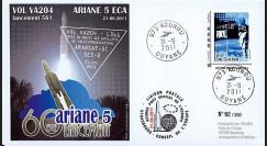 """VA204L-T1 : 2011 - FDC Kourou """"ARIANE 5 Vol 204 - Arabsat-5C & SES-2"""" - TPP Armstrong"""