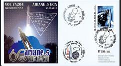 """VA204L-T2 : 2011 - FDC Kourou """"ARIANE 5 Vol 204 - Arabsat-5C & SES-2"""" - TPP Espace"""
