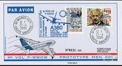 """A380-5T1 : 2005 - Pli France """"1er vol d'essai du prototype 001 de l'A380"""" - TP Einstein"""