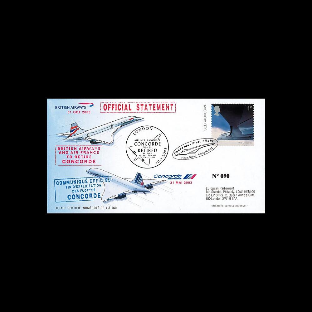 """CO03-RET : 2003 - Pli spécial GDE-BRETAGNE """"Annonce officielle du retrait de Concorde"""""""
