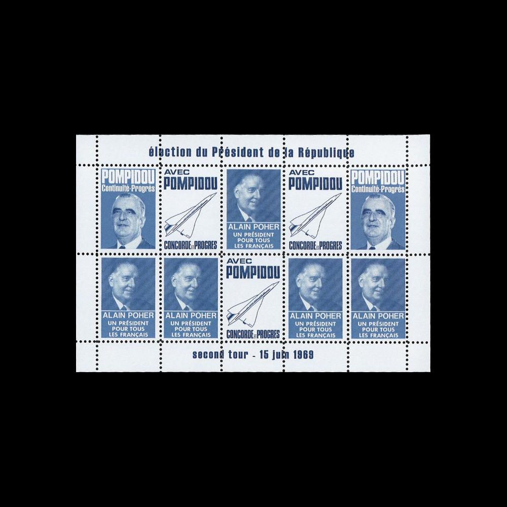 """PRES69-BF : 1969 Vign. dentelées """"Présidentielle Poher-Pompidou / Concorde"""" - bleu foncé"""