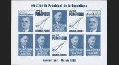 """PRES69-BF-ND : 1969 - Vignettes non-dentelées """"Poher-Pompidou / Concorde"""" - bleu foncé"""