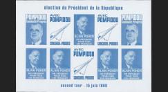 """PRES69-BC-ND : 1969 - Vignettes non-dentelées """"Poher-Pompidou / Concorde"""" - bleu clair"""